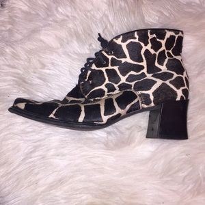 Franco Sarto giraffe print calf hair booties 7.5